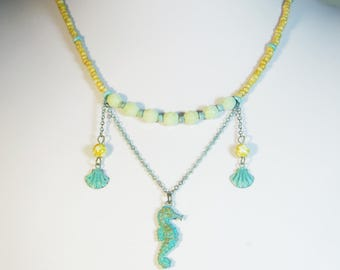 Verdigris Seahorse and Seashell Beaded Boho Necklace - OOAK!