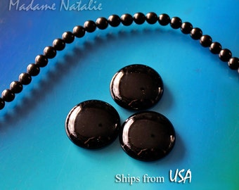 Black Onyx Cabochon 25mm (1 pc), Round Black Gemstone Cabochon, Natural Black Onyx Cabochon, Black Stone for Jewelry, Round Cabochon 25x5mm