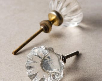 Clear Glass Flowered Knob with Clear Diamond Cut Center (Sold in Set of 3)