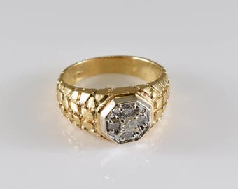 14K Yellow Gold Diamond Ring Size 10 1/4