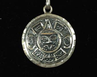 Sterling Silver Mayan/Aztec Pendant/Chain Necklace