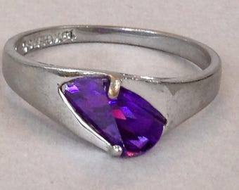 GERSC 18K GE White Gold Tanzanite Solitaire Ring Size 10
