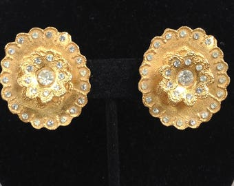Mosell Gold Tone and Crystal Dimensional Clip On Earrings