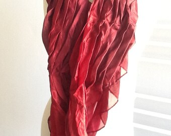 Pleated silk scarf, red, 102