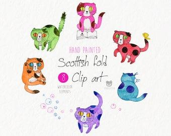 Scottish fold Cat clip art, Colorful Cat, Kitten, Printables, illustrations, Animal, Pet, Nursery, Watercolour, Instant download