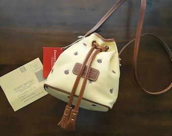 ANNIVERSARY SALE!  Rare Vintage Pale Yellow Dooney and Bourke Exclusive Ladybug Edition Mini Drawstring Bag