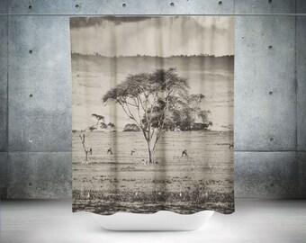 African Shower Curtain | Safari Shower Curtain | Farm Shower Curtain | Cool Shower Curtains | Unique Shower Curtain | Bathroom Decor
