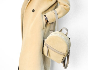 Beige suede leather backpack - Sport