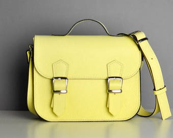 Yellow  leather bag - Satchel