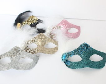 Glittery Masquerade Masks, Mardi Gras, Turquoise, Pink, Silver, Gold, Cake Topper, Decoration, Craft, overthetopcaketopper