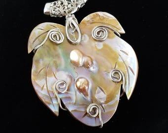 Vintage large shell pendant silver pendant shell sea shell pendant beach jewelry OW2603