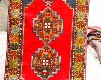 Antique 4'3''x7'3'' Henna Dyes Cr1900-1939s Wool Pile Tribal Area Rug