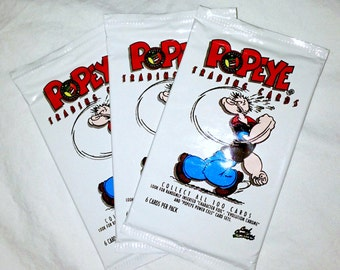 3 Packs of Popeye The Sailor Man Trading Cards, Brand New & Sealed, from 1994.