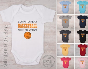 BASKETBALL Coach Gift, Born To Play Basketball With My Daddy / Mommy / Aunt / Uncle Custom Baby Bodysuit, Basketball Baby Shirt