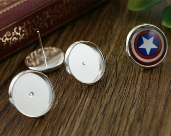12mm Bright Silver Plated Earring Tray Bezel Cabochon Setting Stud Earring Rubber Backing Fits 12mm Cabochons Bezel Earring Blanks