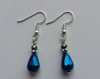 Shiny Blue Dangle Earrings with Spacer