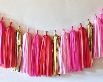 Tissue Tassel Garland  //  Pink  //  Blush  //  Red //  Gold  //  Party Decoration  //  Bridal Shower  //  Valentine's Day