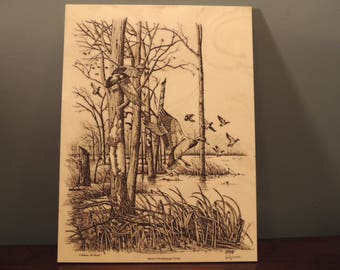 Vintage marble etching, signed and numbered. Salute to Mississippi Flyway