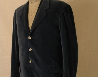 On Sale Vintage 70s Mens Italian Sport Coat Slate Blue Velveteen 3 Button