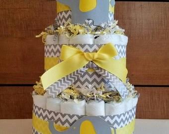 elegant baby elephants diaper cakechevron gray u0026 yellow diaper cakebaby shower decor