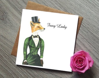 Card for her - Birthday Card Girlfriend - Foxy Lady - Birthday Card Wife - Birthday Card Mum - Card Sister - Birthday Card - Fox Art - Fox