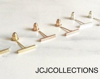 Tiny Bar Earrings, Simple, Chic