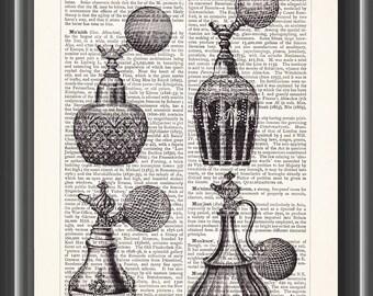 perfume atomisers vintage upcycled dictionary art print vintage print wall art home bathroom decor