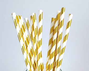 25 Metallic Gold Paper Straws