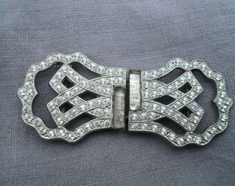 French Art Deco Belt Buckle, Vintage French Belt Buckle, Diamante Belt Buckle, 1930's.