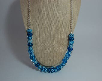 Blue White Beaded Necklace