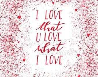 Love You Digital Print