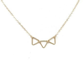 Tiny Triangle Necklace - Minimalist Jewelry - Geometric Necklace - Gold or Silver Triangle necklace