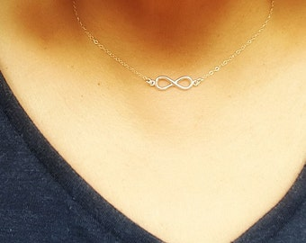 Infinity Love Necklace  - Sterling Silver Infinity Necklace - Choker Infinity Necklace -  Love necklace - Forever necklace - Wedding gift