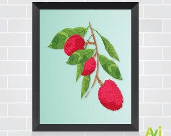 Affiche de lychees. Décor d'imprimable pour bureau, maison, boutique et plus encore.