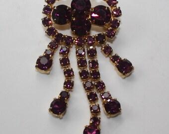Vtg 60's Purple Brooch