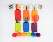 Rainbow Hanging Organiser  Crocheted  Acrylic Yarn  With Pompoms  Rectangular Storage Pockets  Bright  Fun  Useful  Ready To Ship