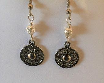 Sun Burst Circle Silver Tone Pierced Earrings