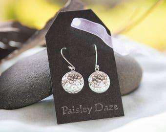 Sterling Silver Earrings - Drop Earrings - Handmade Jewellery - Textured Earrings - Paisley Daze Designs