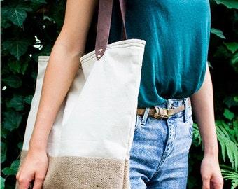 Natural Summer Tote Bag, Leather Handles, Sea bag, Every day bag, Organic tote bag, Canvas bag, White Tote