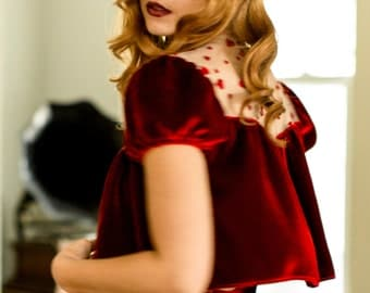 Red Velvet Bed Jacket Robe Top / Ruby Heart Bow Silk / REBELLE Bed Jacket - Rouge