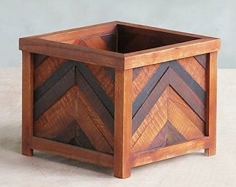 Wood Planter Box, Herringbone Wood Planter, Indoor Outdoor Planter, Mixed Sustainably Sourced Tropical Hardwoods by Masaya & Company