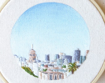 San Francisco Skyline 1, April 2015, city embroidery art, wall art, small hand embroidered art, simple