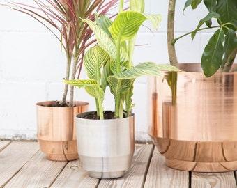 "Backordered - 8"" Spun Planter - Copper"