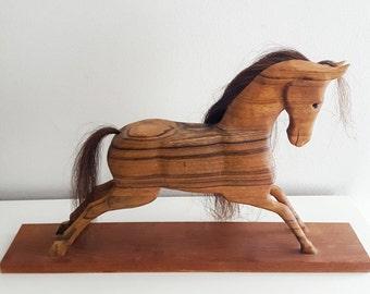 Signed horse wood sculpture - Alan Boileau Canadian artist signed art - Large horse art