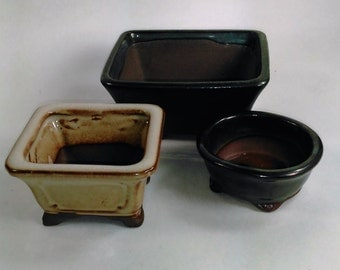 Set Of 3 Mini Oriental Ceramic Containers/Holders/Planters/Garden Art in Greens and Brown