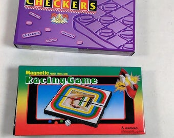 Vintage Set Of Magnetic Travel Pocket Games/Racing & Checkers/New In Box (P)