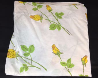 Vintage Queen Flat Bed Sheet Stevens Tastemaker Percale Yellow Floral Flowers Retro