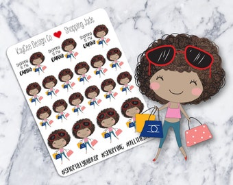 Shopping Jade / Planner Stickers / Hand Drawn / Tracking / Fits Erin Condren Vertial & MAMBI / Filofax / Kikki K / Scrapbook