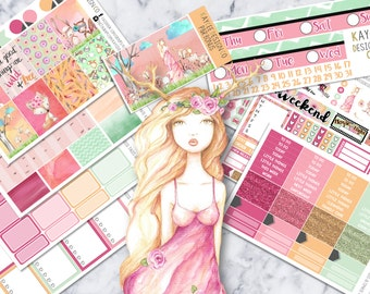 ULTIMATE Weekly Kit / Woodland Princess Tales / Planner Stickers / Watercolor / Hand Drawn /  Fits Erin Condren Vertical & MAMBI/ Floral