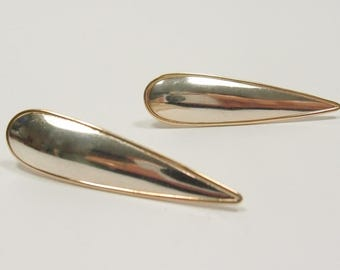 Vintage Sterling Silver and 9k Gold Earrings